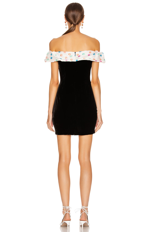 Image 3 of RIXO Florence Dress in Watercolour Spot, Black & White Pastel