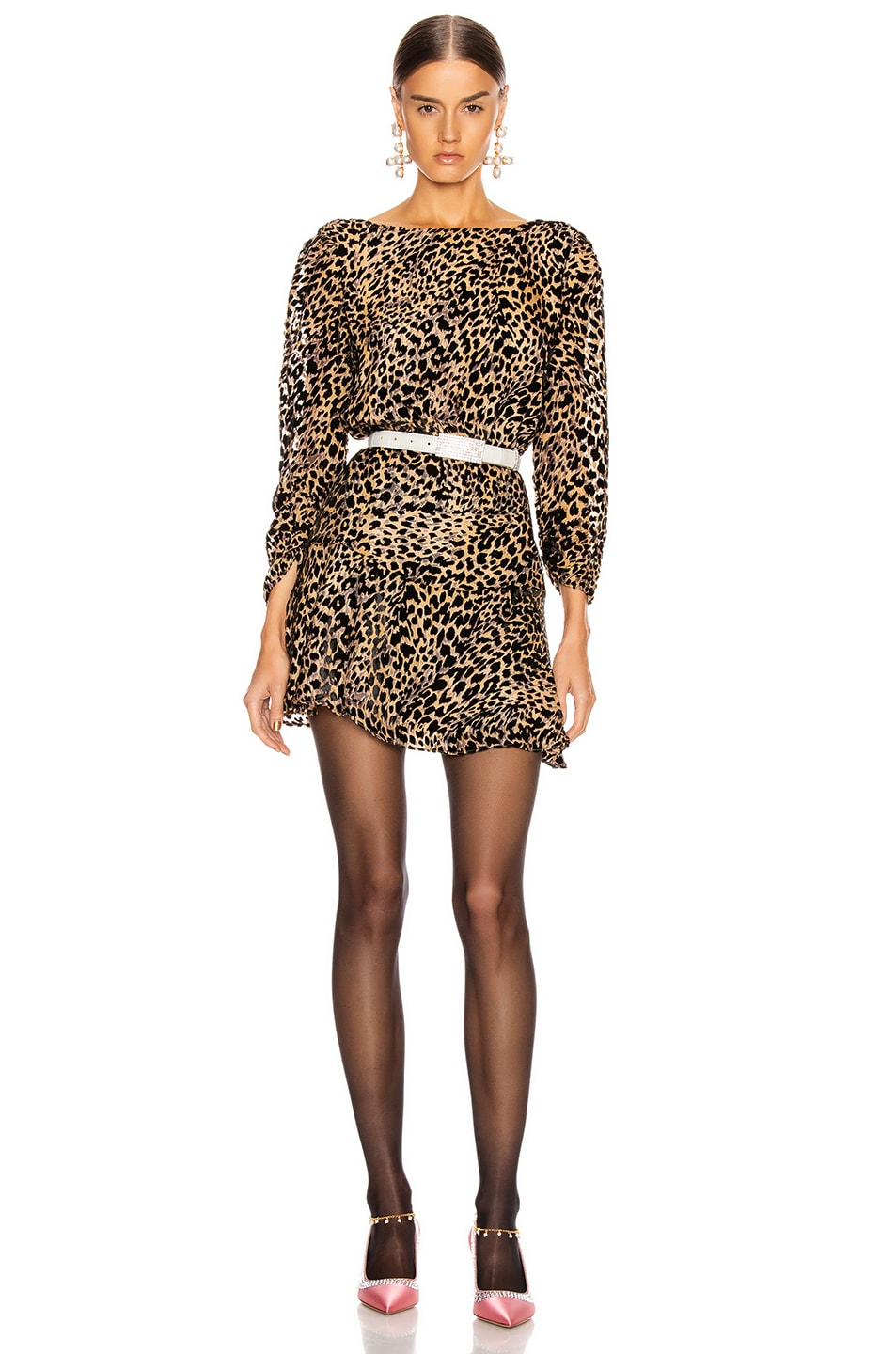 Image 1 of RIXO Clarisse Dress in Leopard Burnout