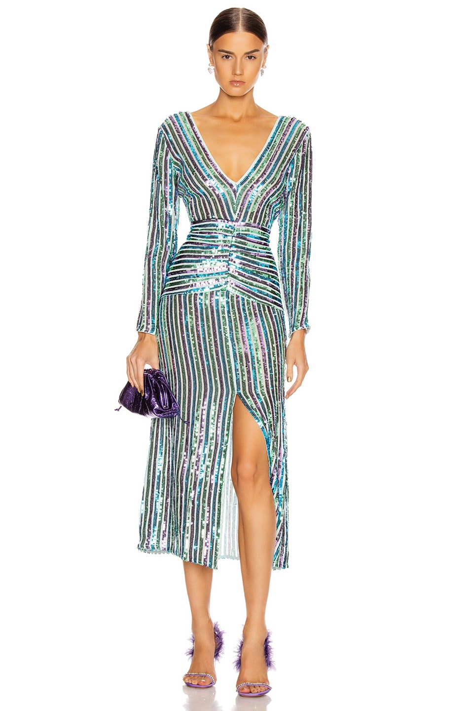Image 1 of RIXO Emmy Dress in Multistripe Sequin