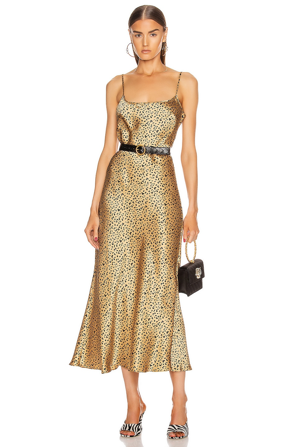 Image 1 of RIXO Holly Dress in Leopard Gold & Black