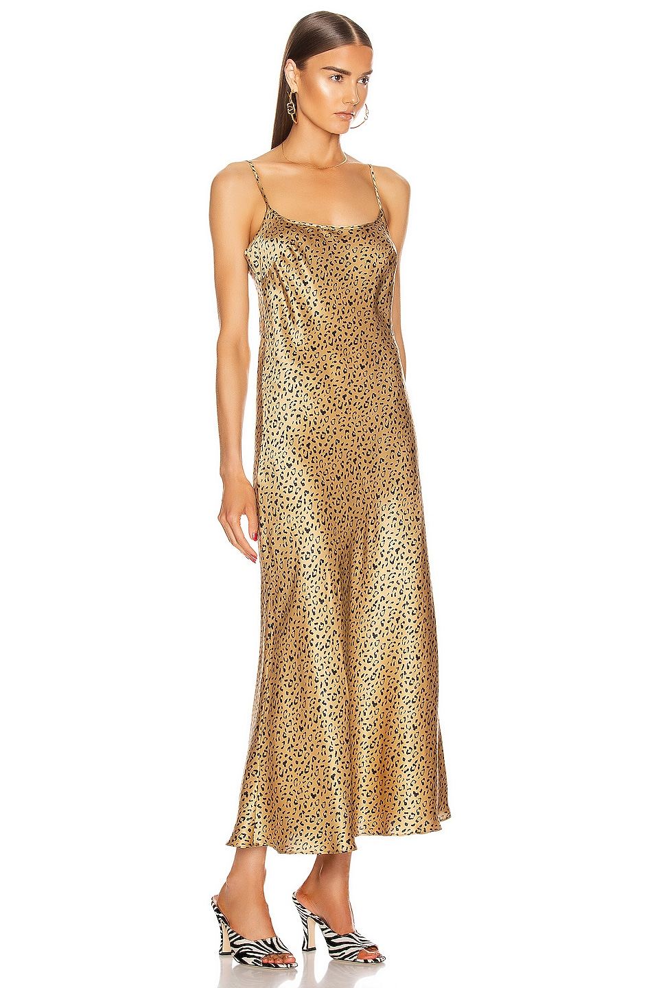 Image 3 of RIXO Holly Dress in Leopard Gold & Black