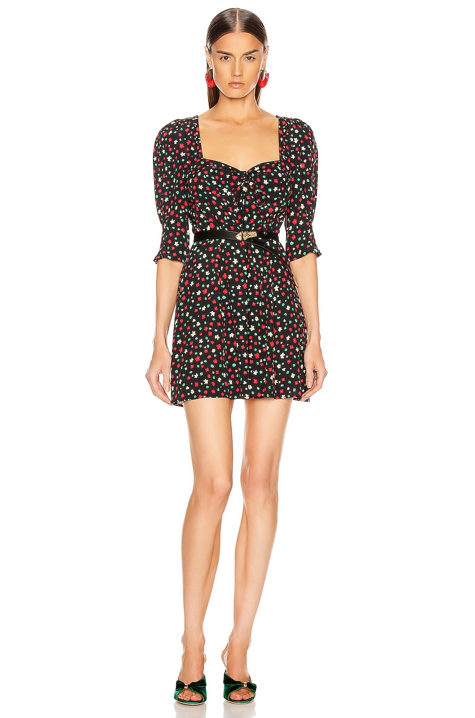Image 1 of RIXO Larissa Dress in Red & Green Floral
