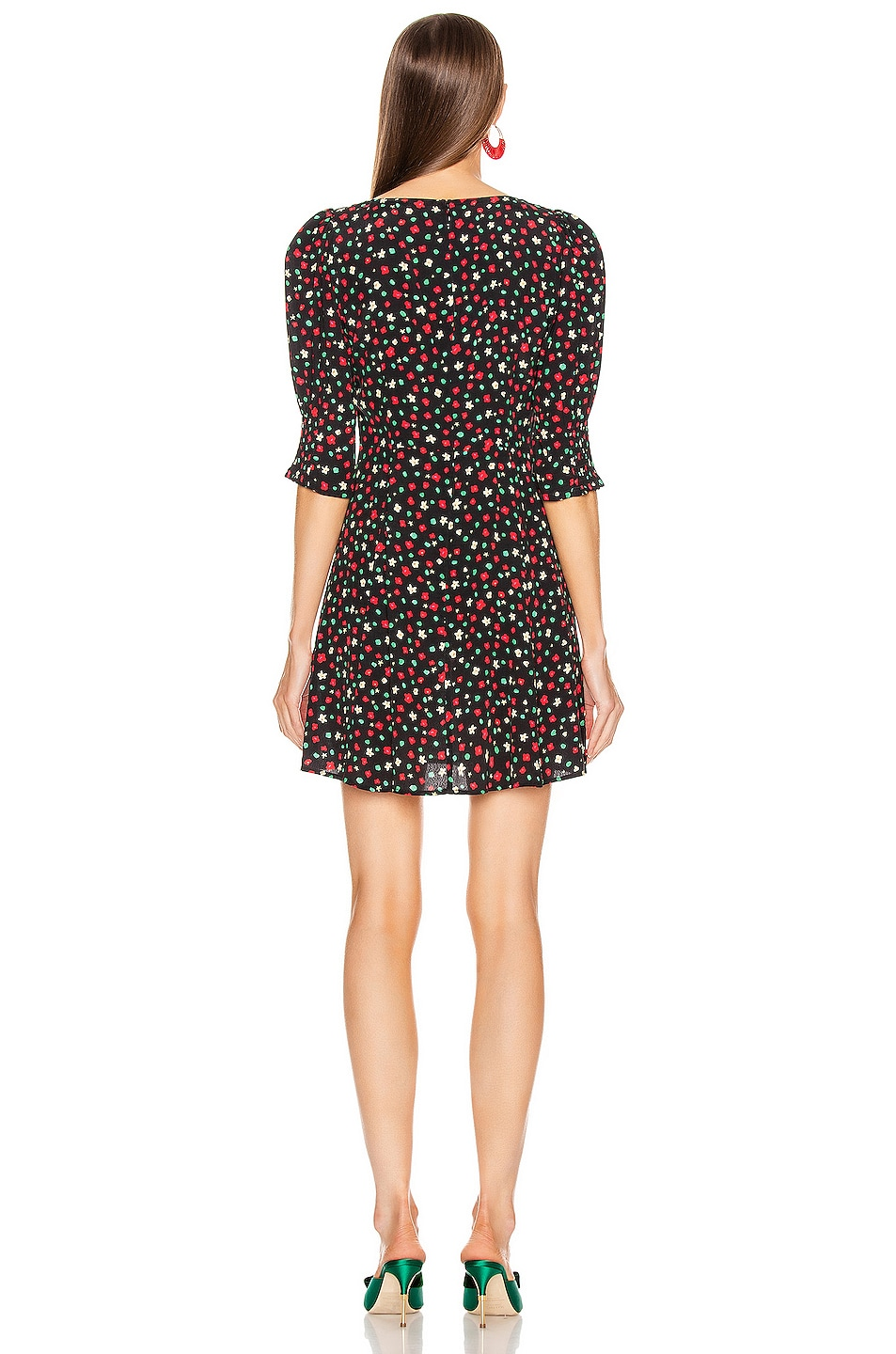 Image 3 of RIXO Larissa Dress in Red & Green Floral