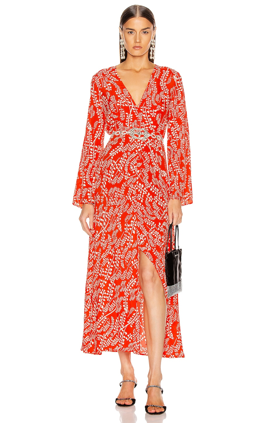 Image 1 of RIXO Sonja Dress in Tree Roots Red
