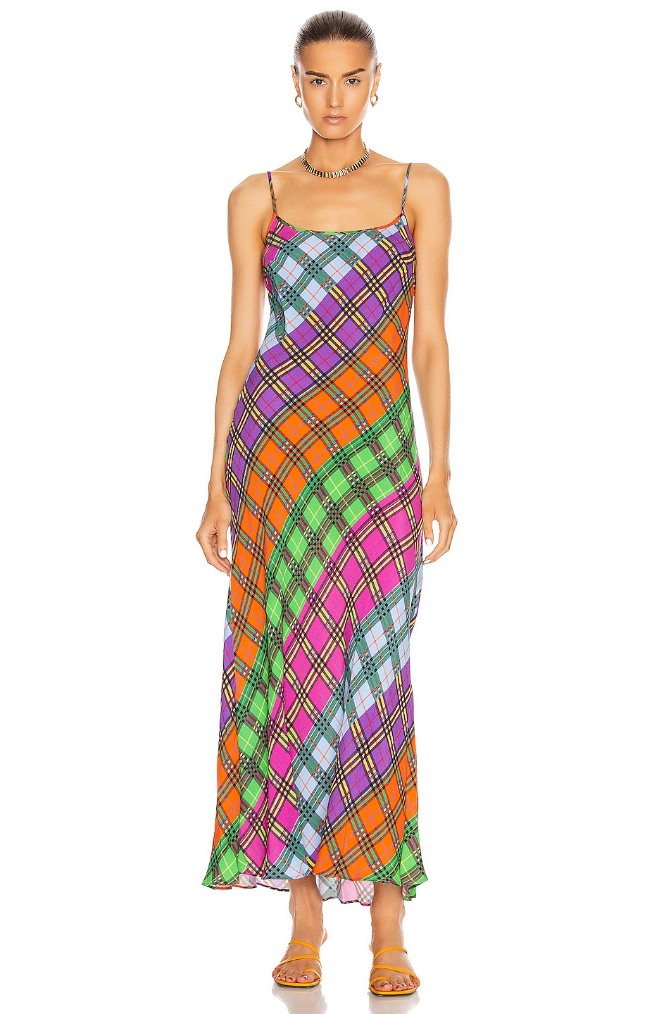 Image 1 of RIXO Holly Dress in Rainbow Flower Check