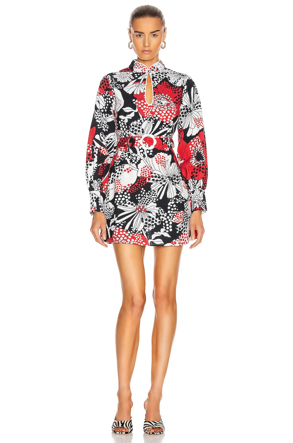 Image 1 of RIXO Michelle Dress in Mono Red Floral