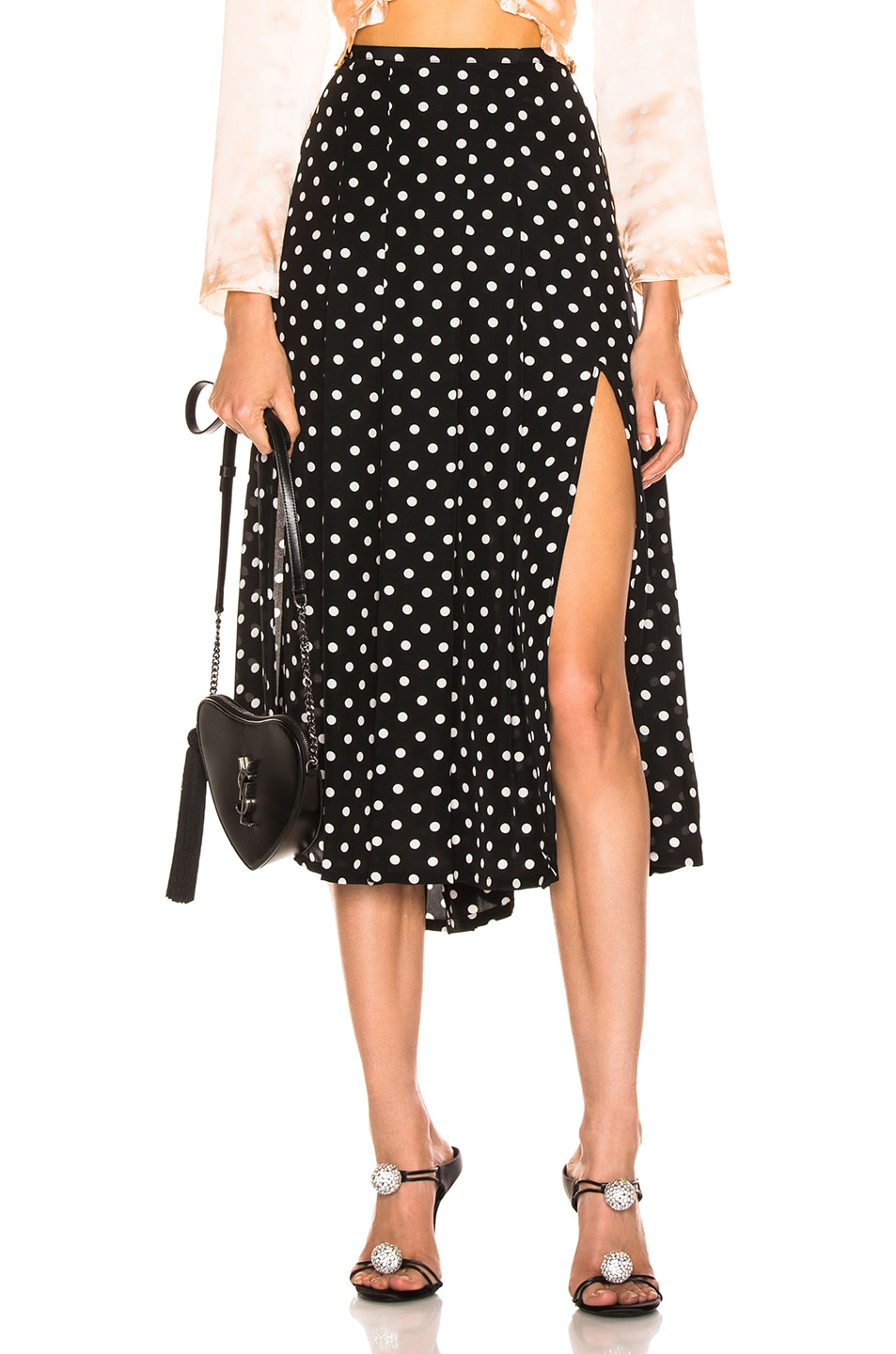 Image 1 of RIXO Georgia Pearl Spot Skirt in Black & White