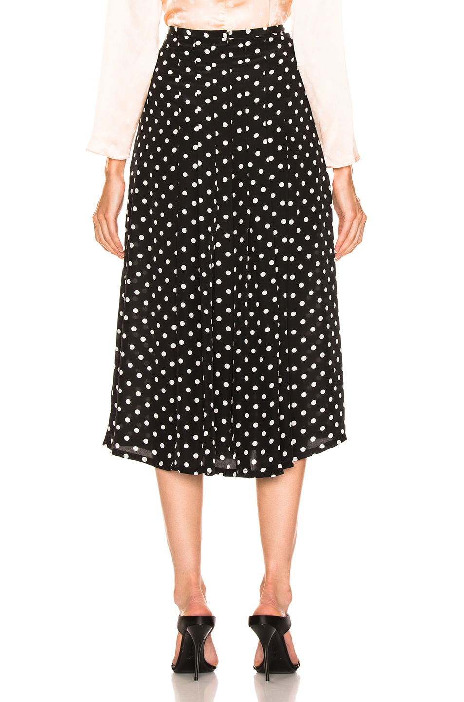 Image 4 of RIXO Georgia Pearl Spot Skirt in Black & White