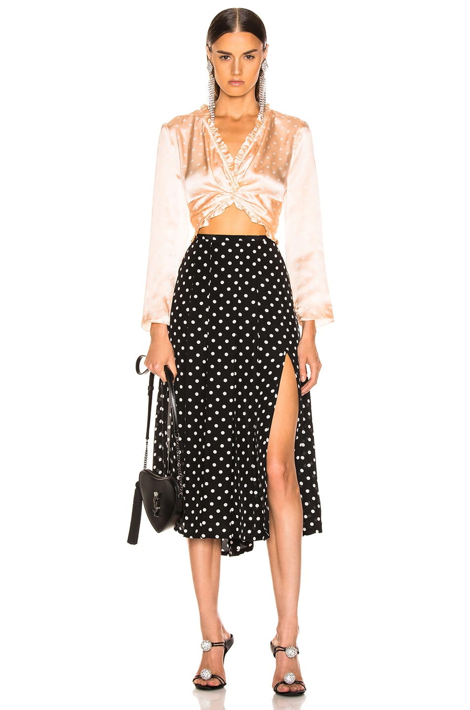 Image 5 of RIXO Georgia Pearl Spot Skirt in Black & White