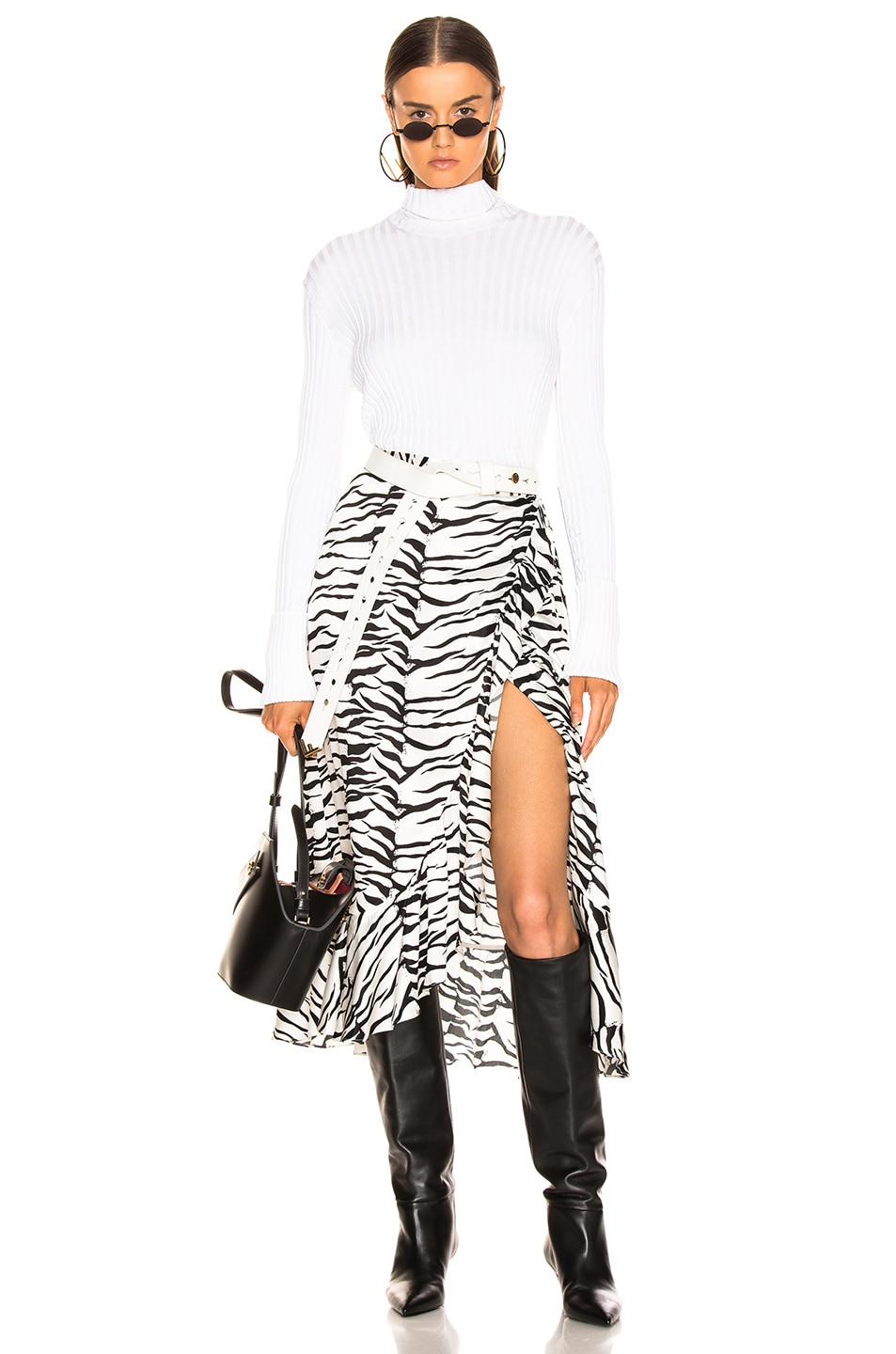 Image 4 of RIXO Gracie Skirt in Mono Tiger