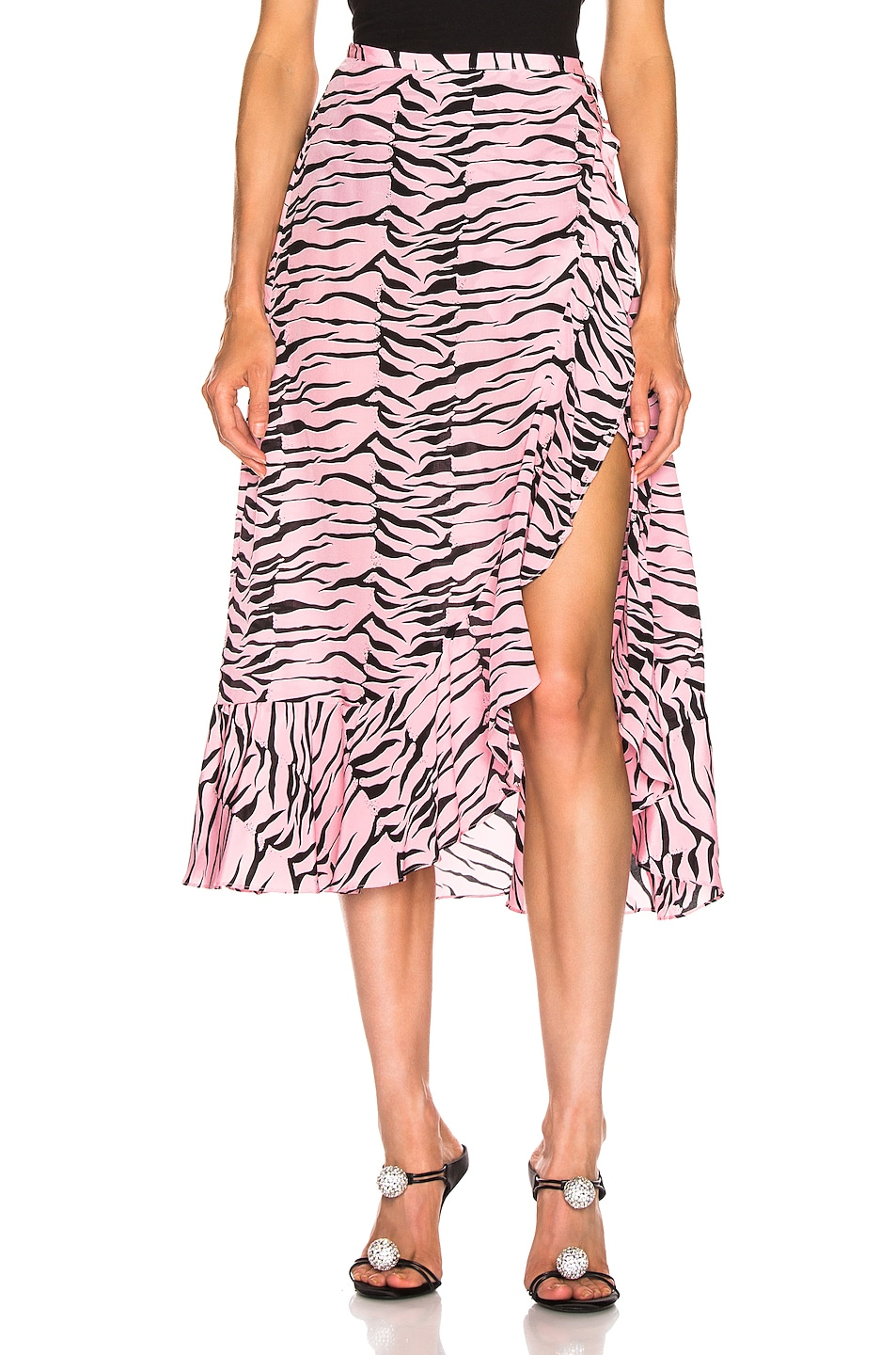 Image 1 of RIXO Gracie Skirt in Pink Black Tiger