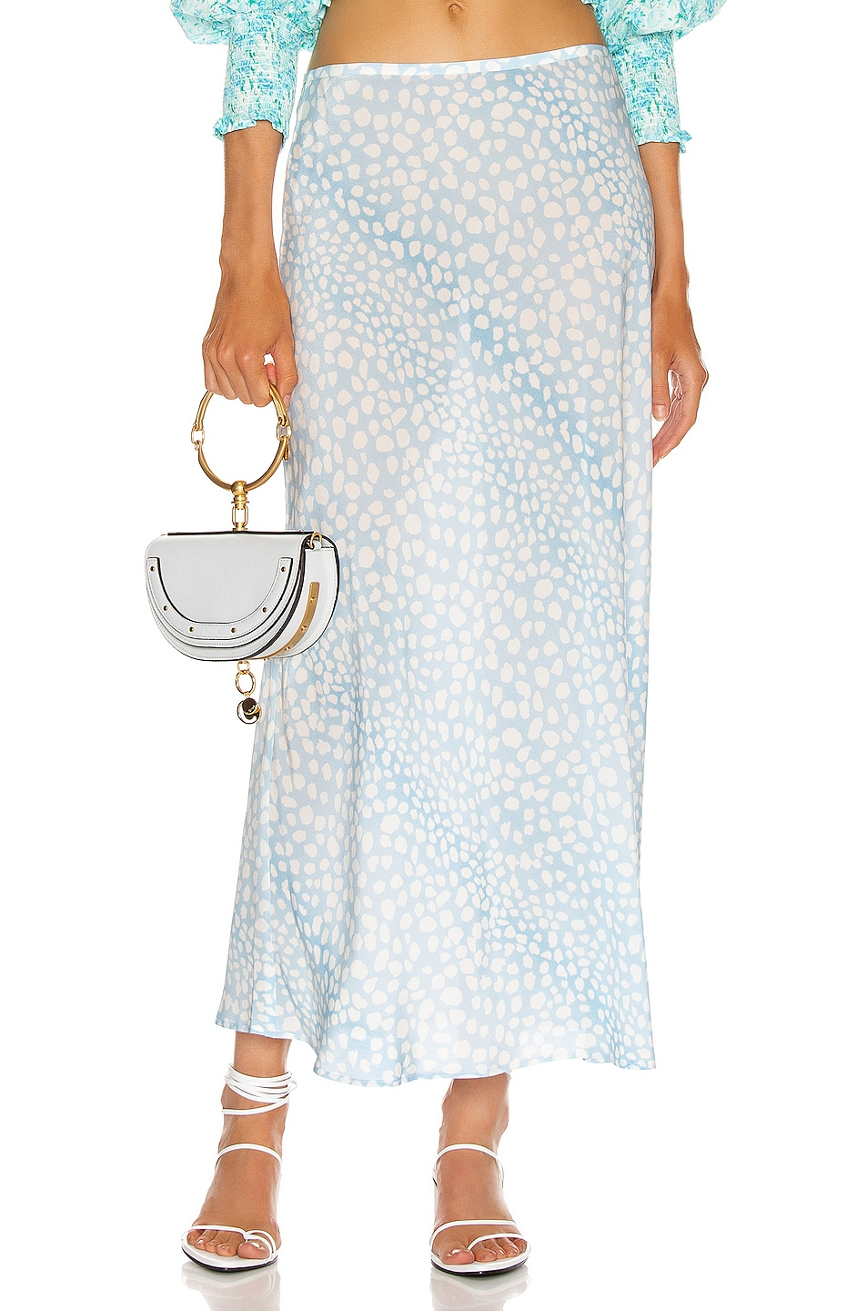 Image 1 of RIXO Kelly Midi Skirt in Ombre Blue Leopard