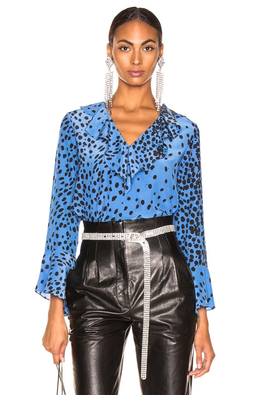 Image 1 of RIXO Jane Top in Blue Leopard