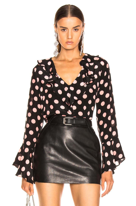 Image 1 of RIXO Jane Maxi Spot Top in Peach & Black