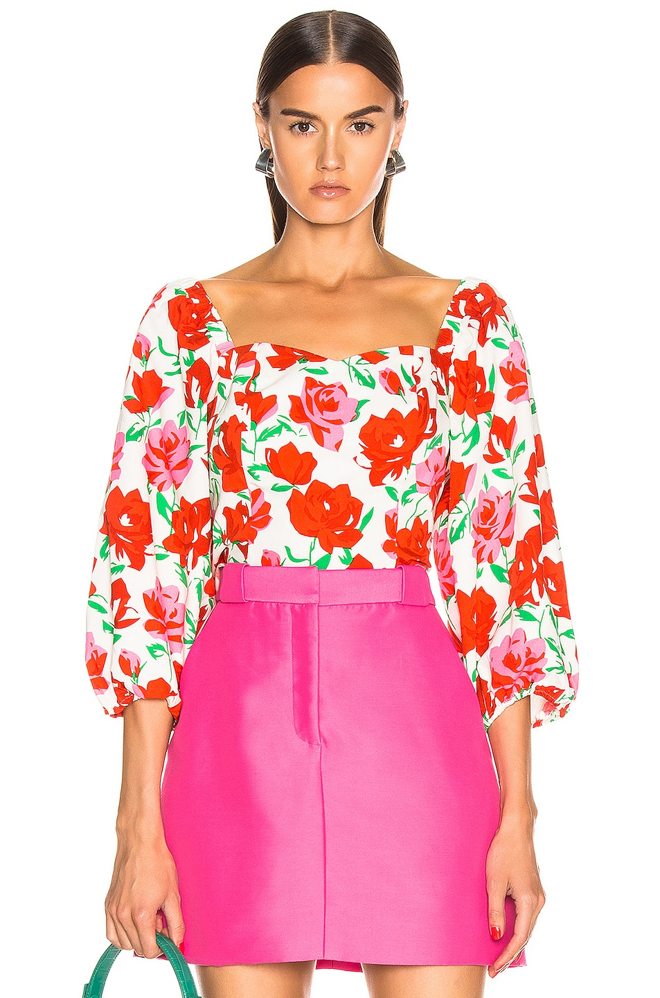 Image 1 of RIXO Veronica Top in White & Red Large Rose