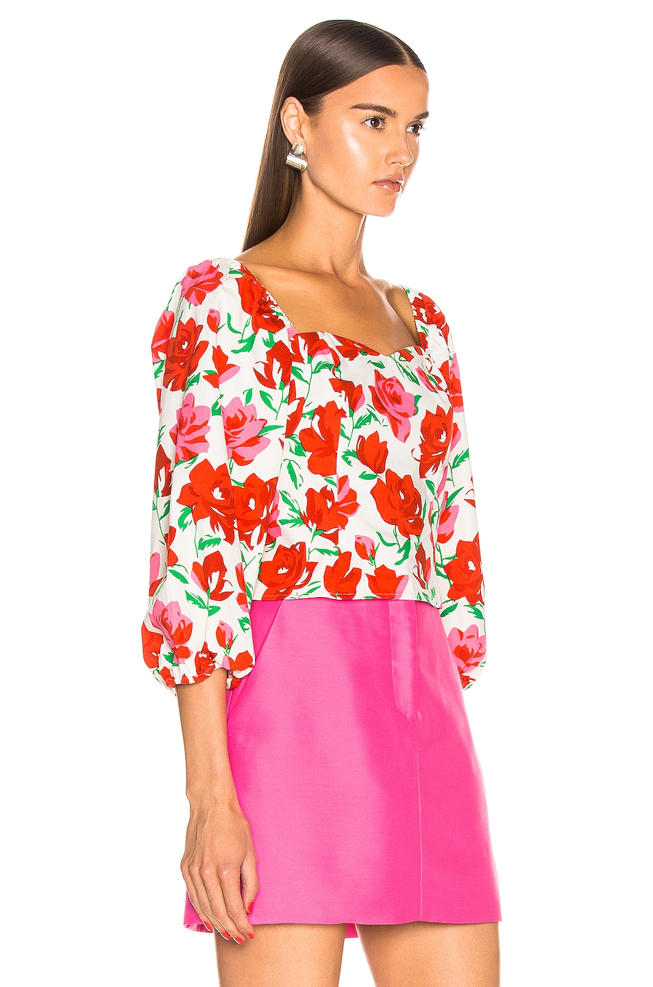 Image 2 of RIXO Veronica Top in White & Red Large Rose