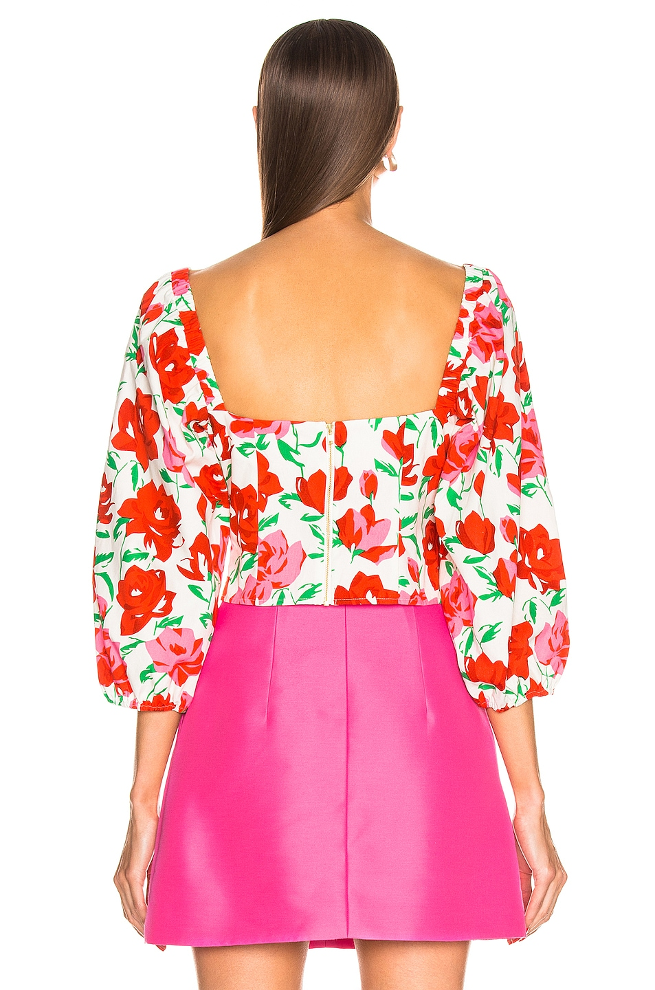Image 3 of RIXO Veronica Top in White & Red Large Rose