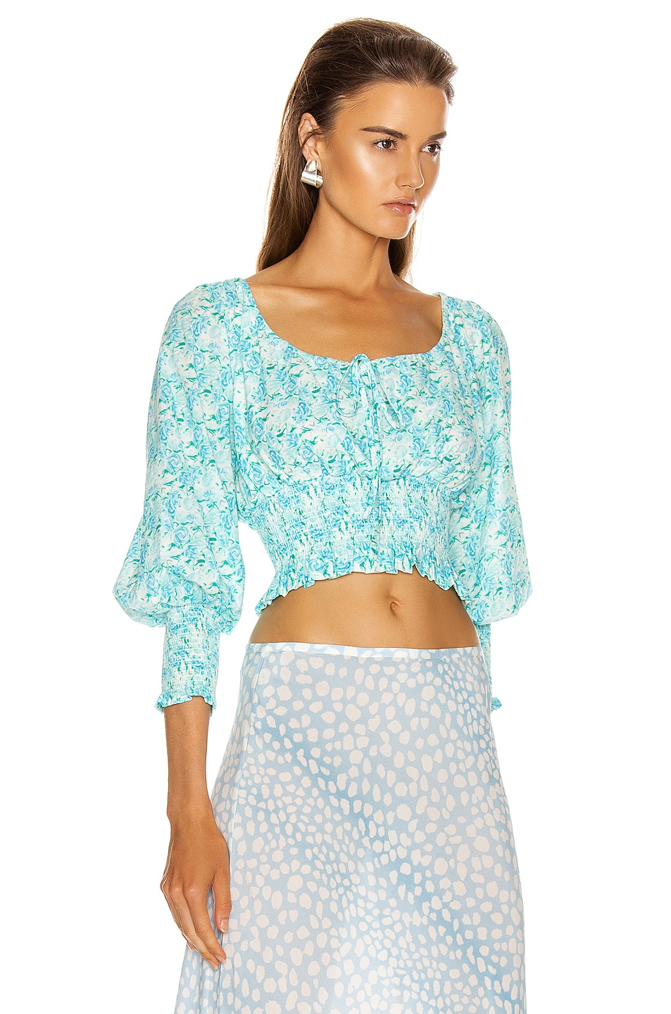 Image 2 of RIXO Helena Top in Italian Floral & Blue Green