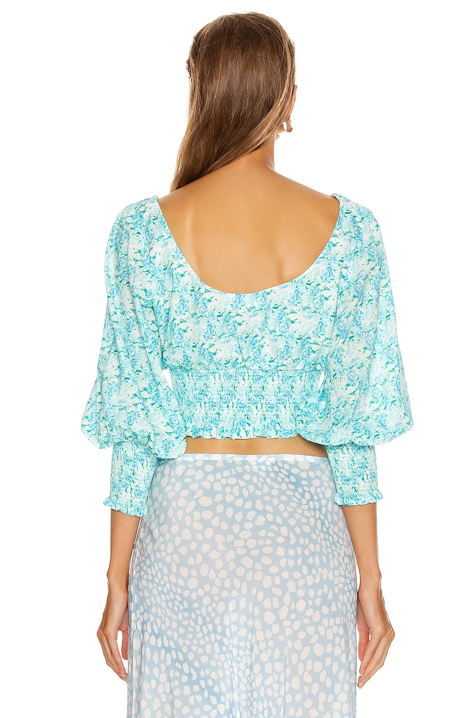 Image 3 of RIXO Helena Top in Italian Floral & Blue Green