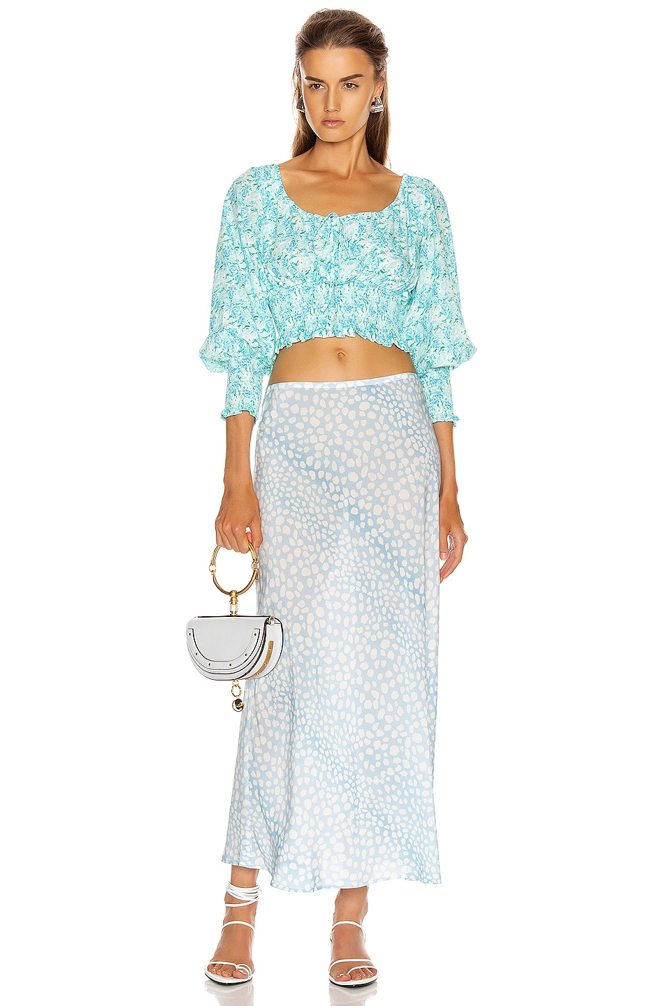 Image 4 of RIXO Helena Top in Italian Floral & Blue Green