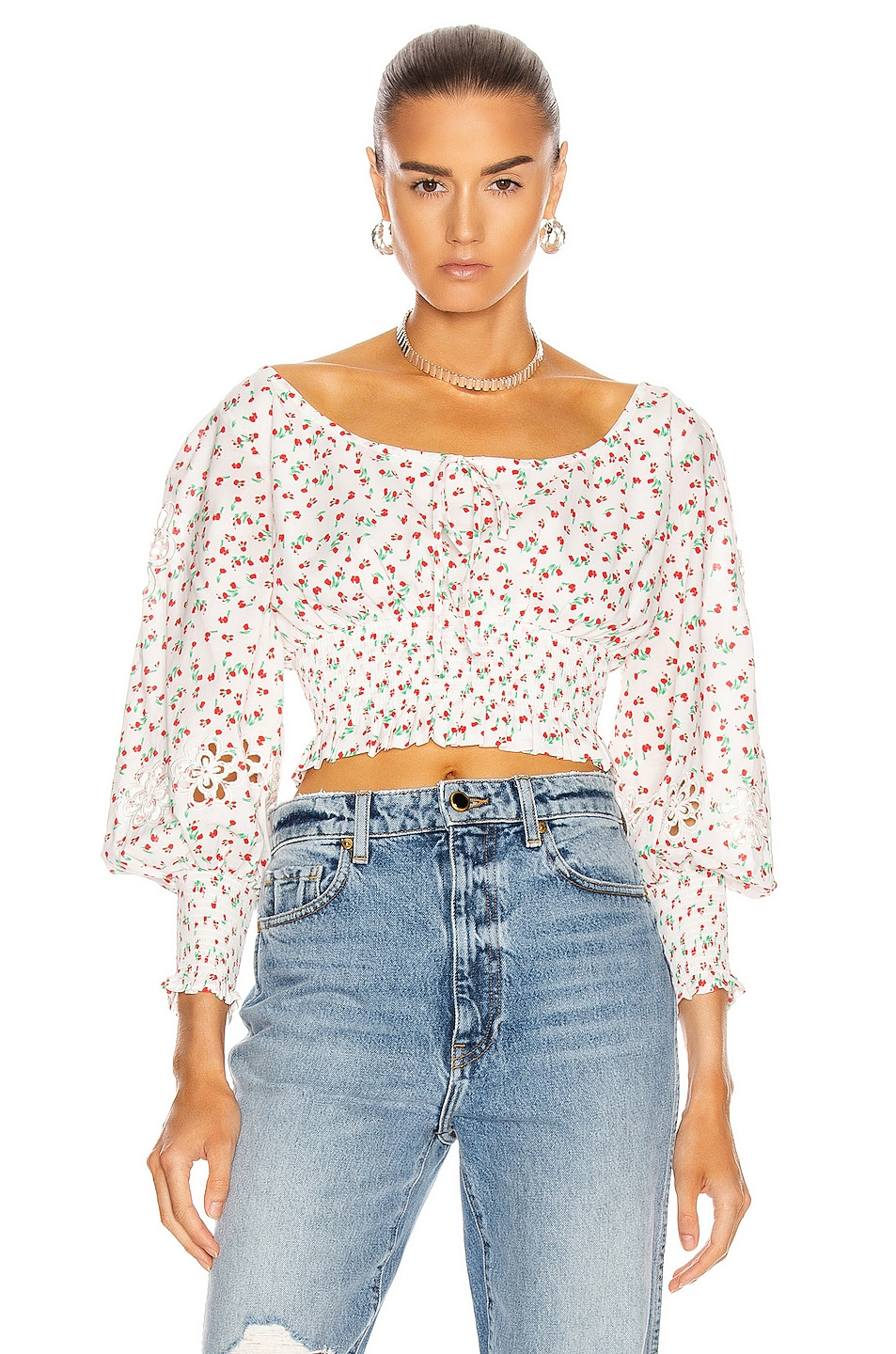 Image 1 of RIXO Helena Top in Embroidered Ditsy Floral