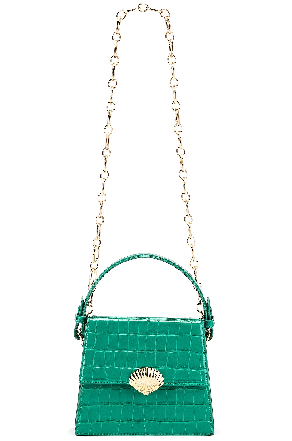 Image 6 of RIXO Jemima Bag in Emerald Croc Leather
