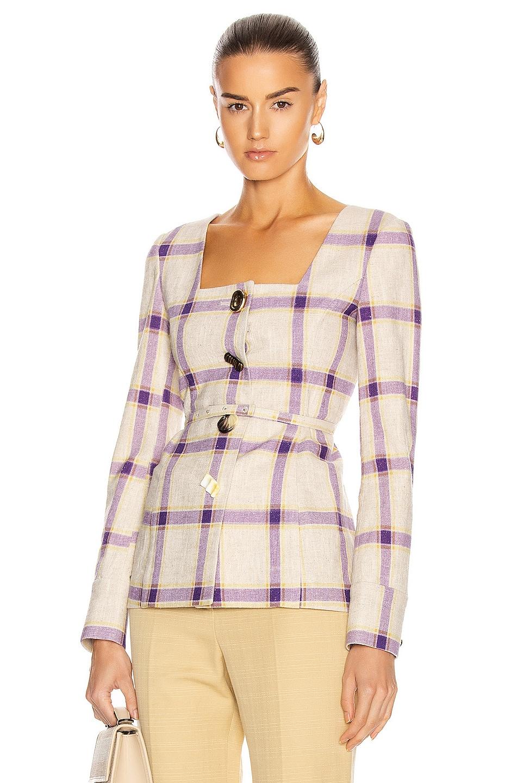 Image 1 of REJINA PYO Martina Jacket in Check Purple & Yellow