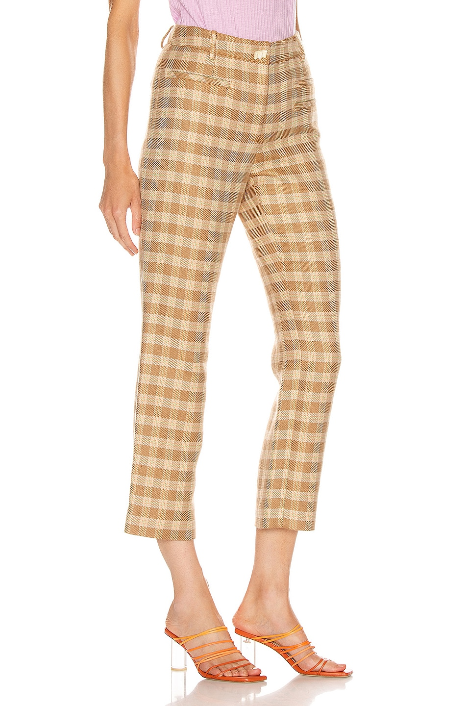 Image 2 of REJINA PYO Finley Trousers in Camel, Orange & Green