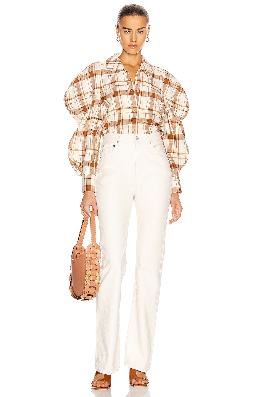 Image 4 of REJINA PYO Julia Shirt in Check Brown