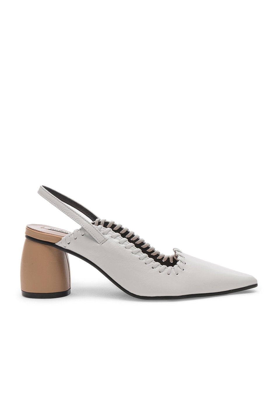 Image 1 of Reike Nen Curved Middle Slingback in White & Beige