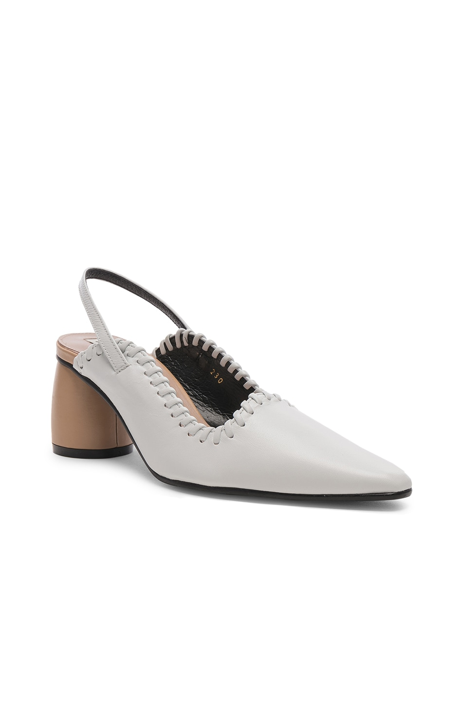 Image 2 of Reike Nen Curved Middle Slingback in White & Beige