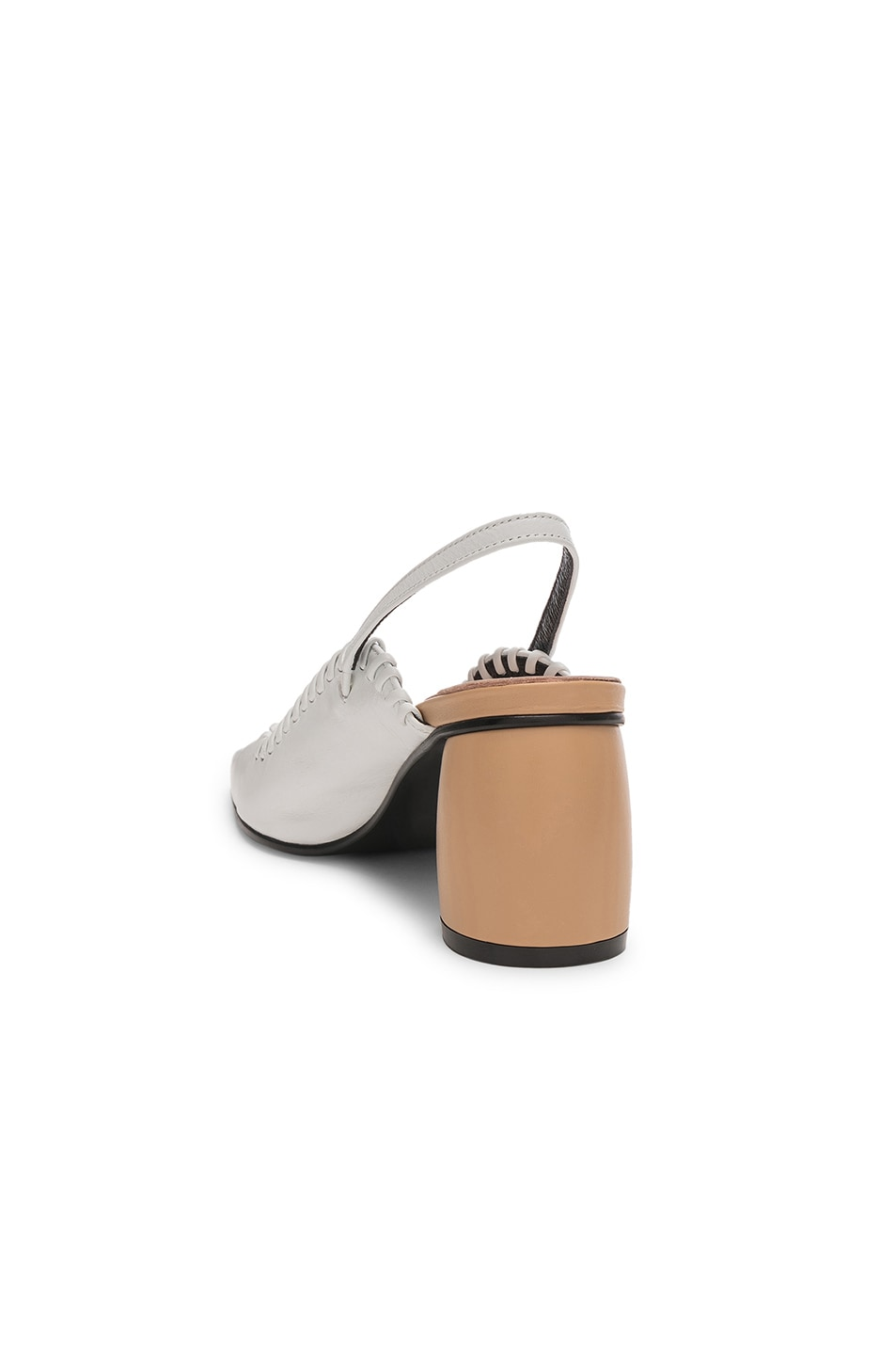 Image 3 of Reike Nen Curved Middle Slingback in White & Beige