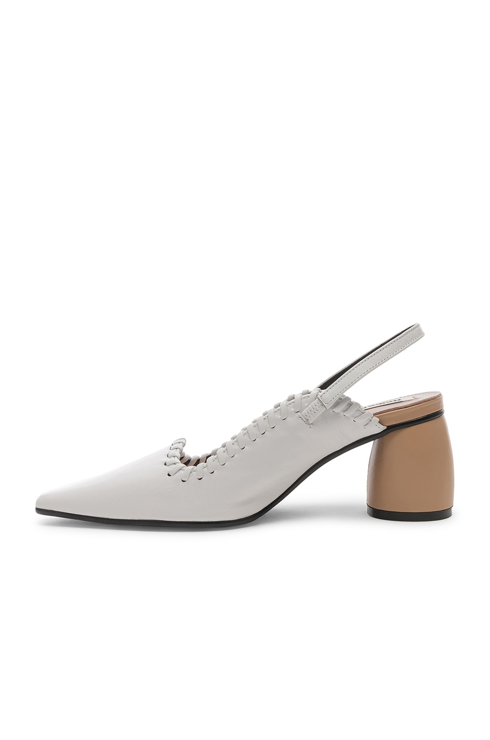 Image 5 of Reike Nen Curved Middle Slingback in White & Beige