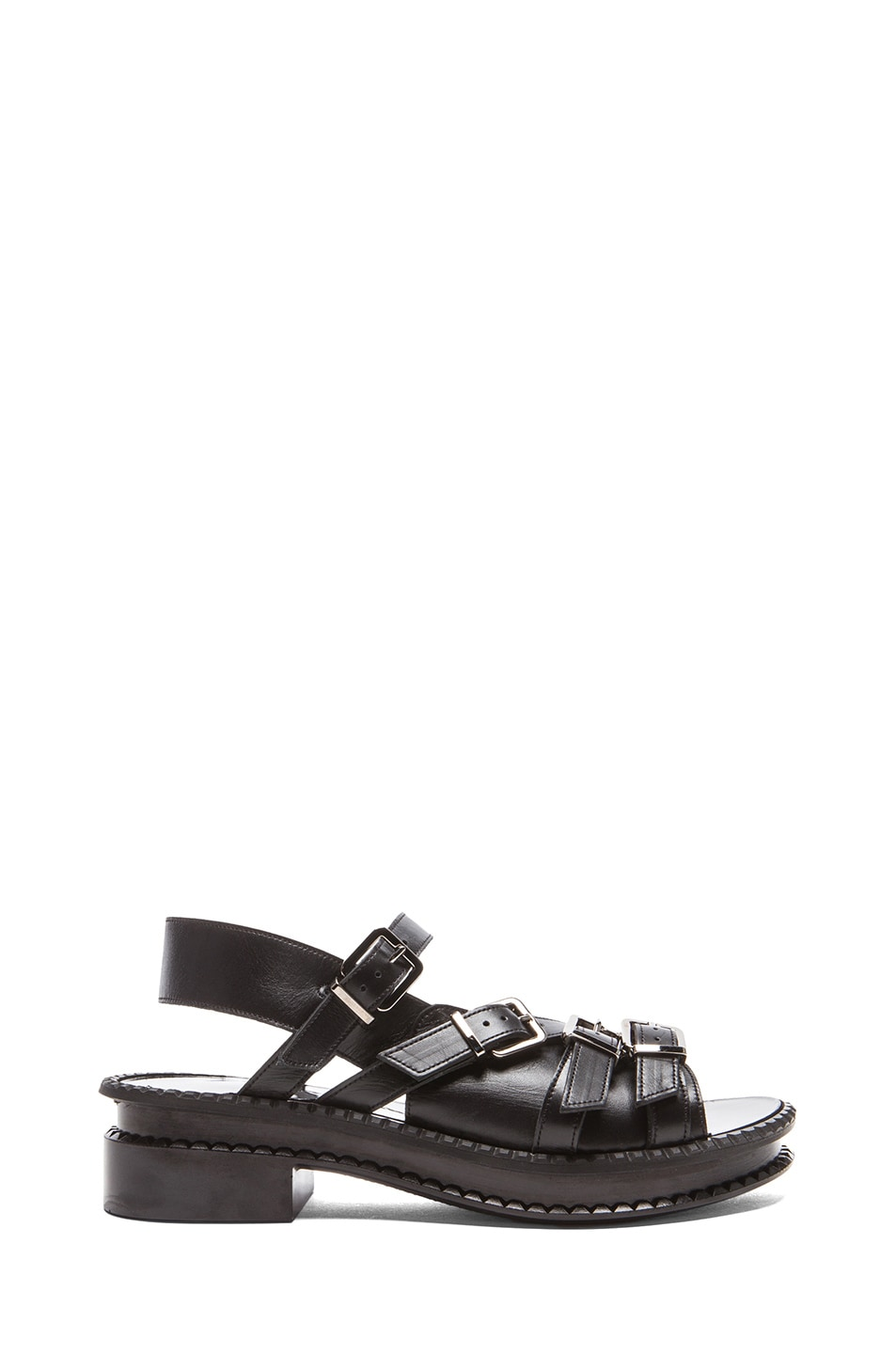 Image 1 of Robert Clergerie Cartas Leather Sandals in Black