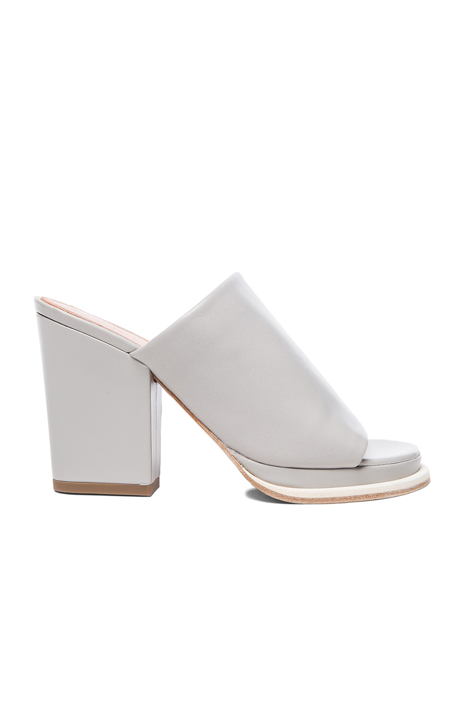 Image 1 of Robert Clergerie Astro Chunky Heel Leather Sandals in Grey