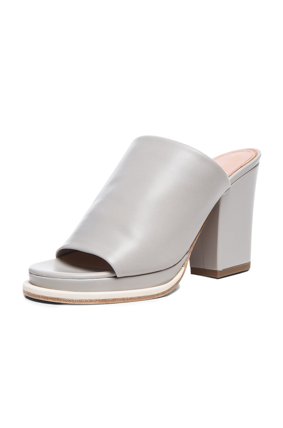 Image 2 of Robert Clergerie Astro Chunky Heel Leather Sandals in Grey