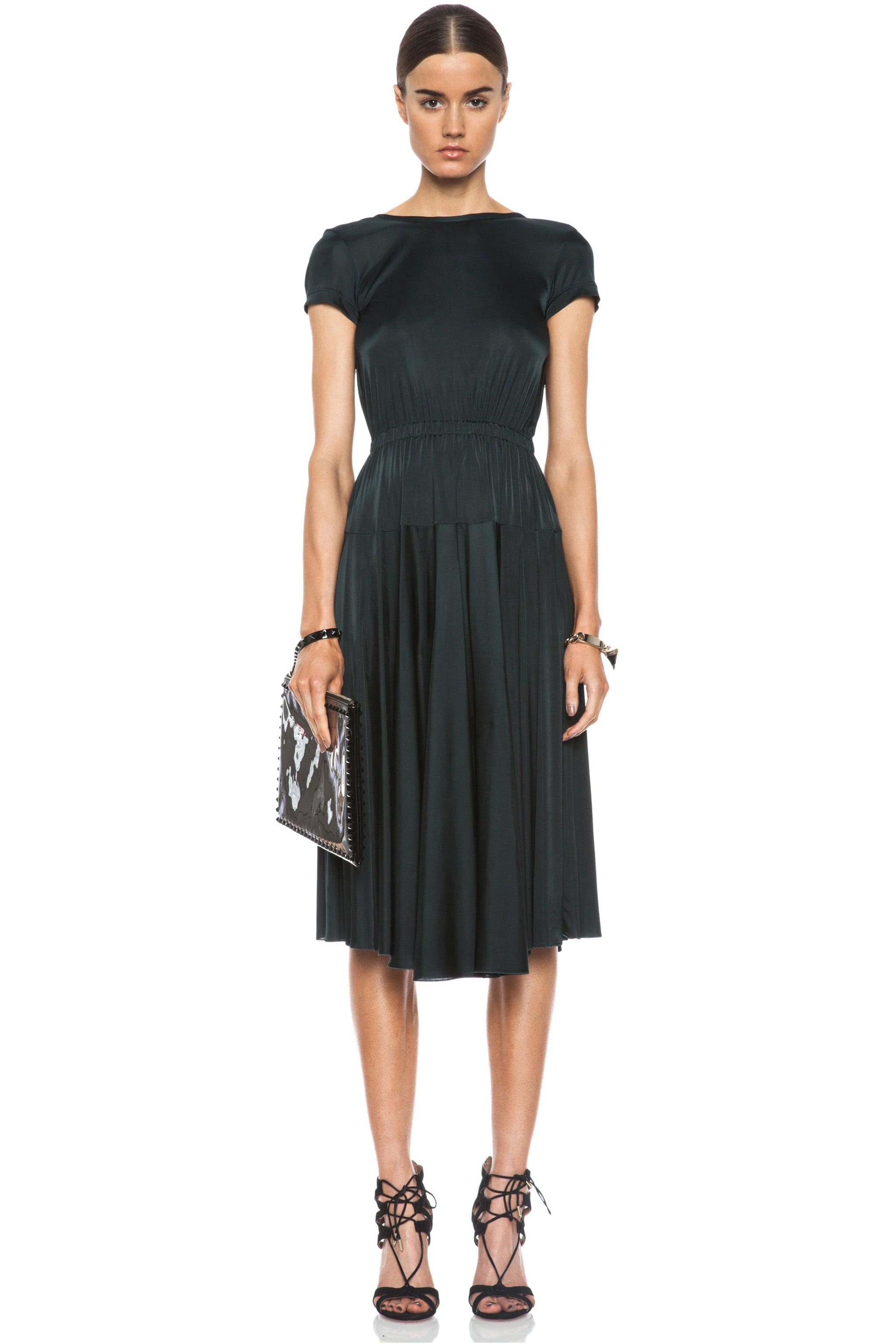 Image 1 of ROCHAS Ribbon Jersey Low-Back Dress in Bottle Green
