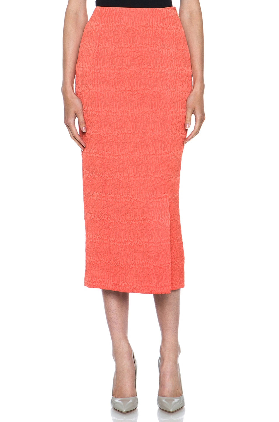 Image 1 of ROCHAS Poly Fitted Skirt in Coral