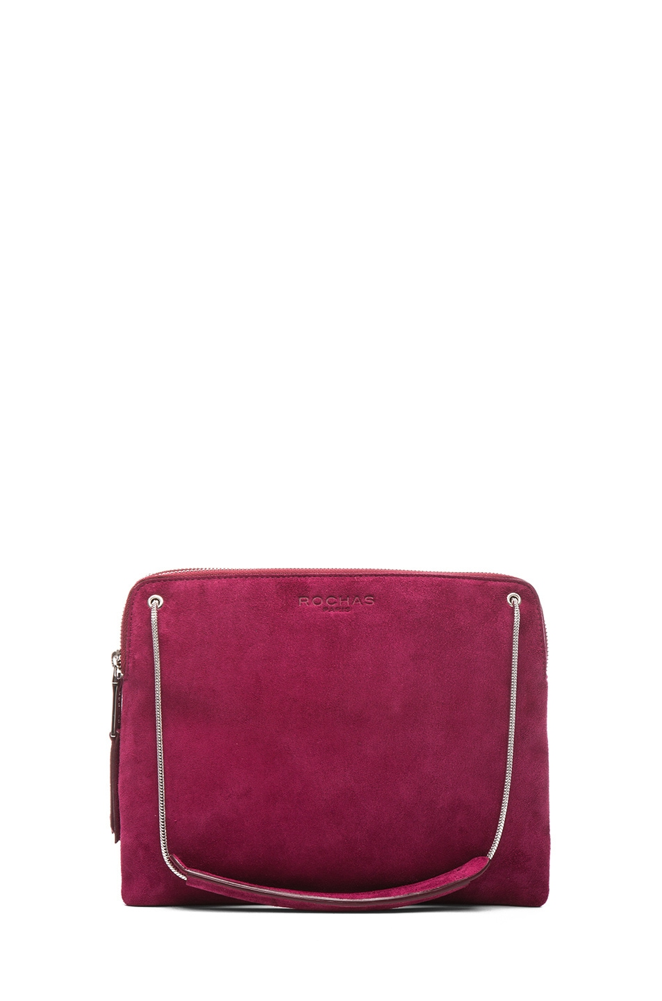 Image 1 of ROCHAS Small Borsa Suede Clutch in Claret