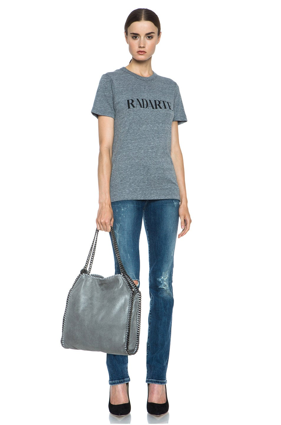Image 5 of Rodarte Radarte Poly-Blend Shirt in Heather Grey