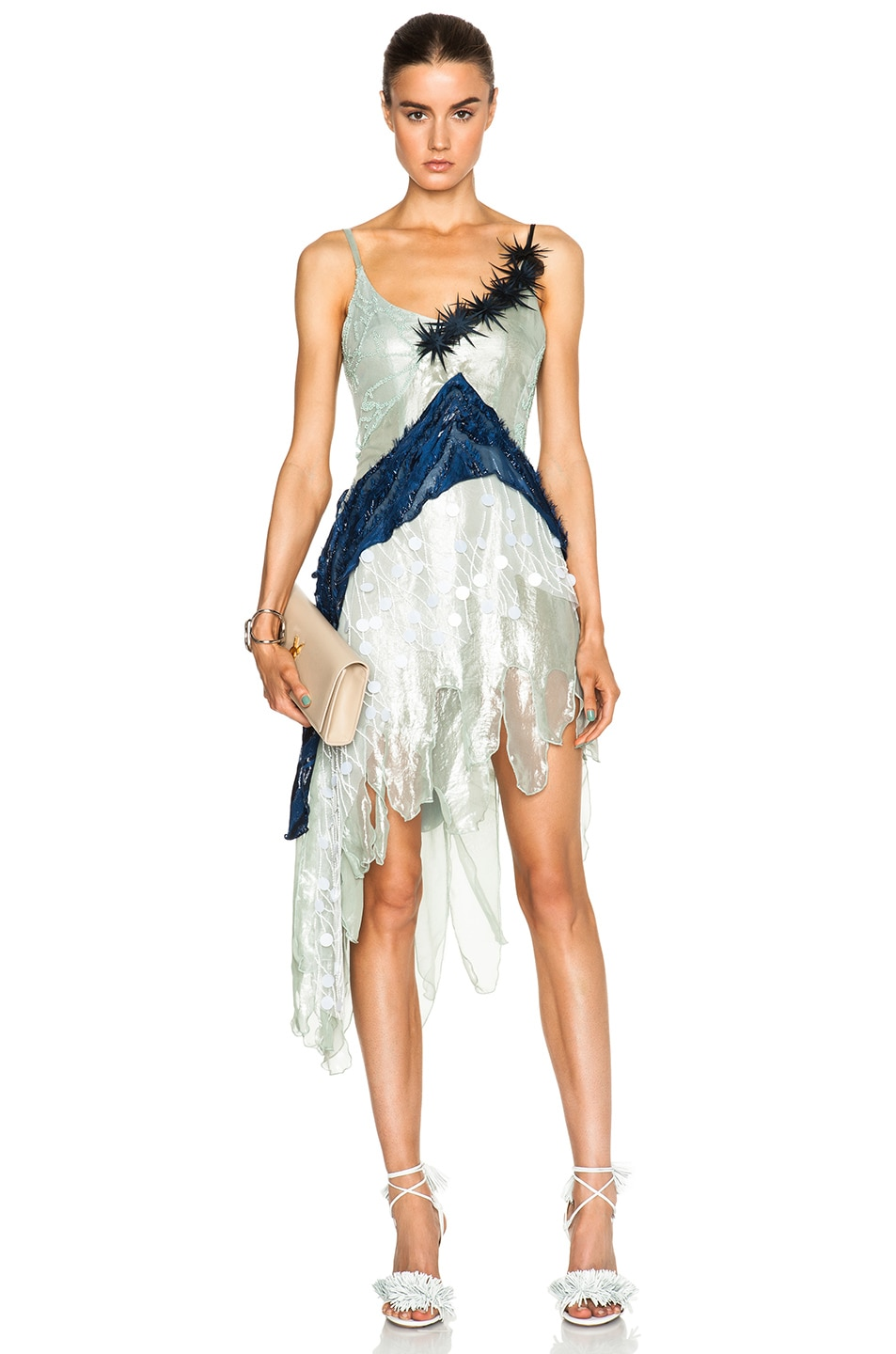Image 1 of Rodarte Beaded Tulle & Lame Dress in Navy & Seafoam