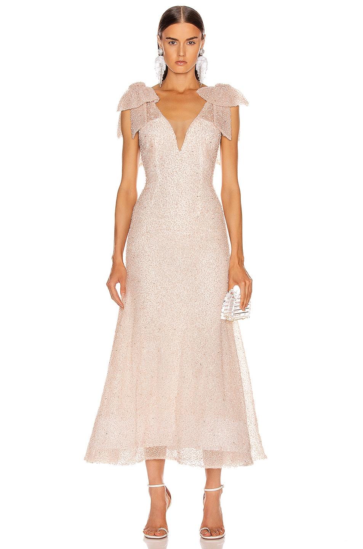 Image 1 of Rodarte Sequin Beaded Bow Dress in Light Pink
