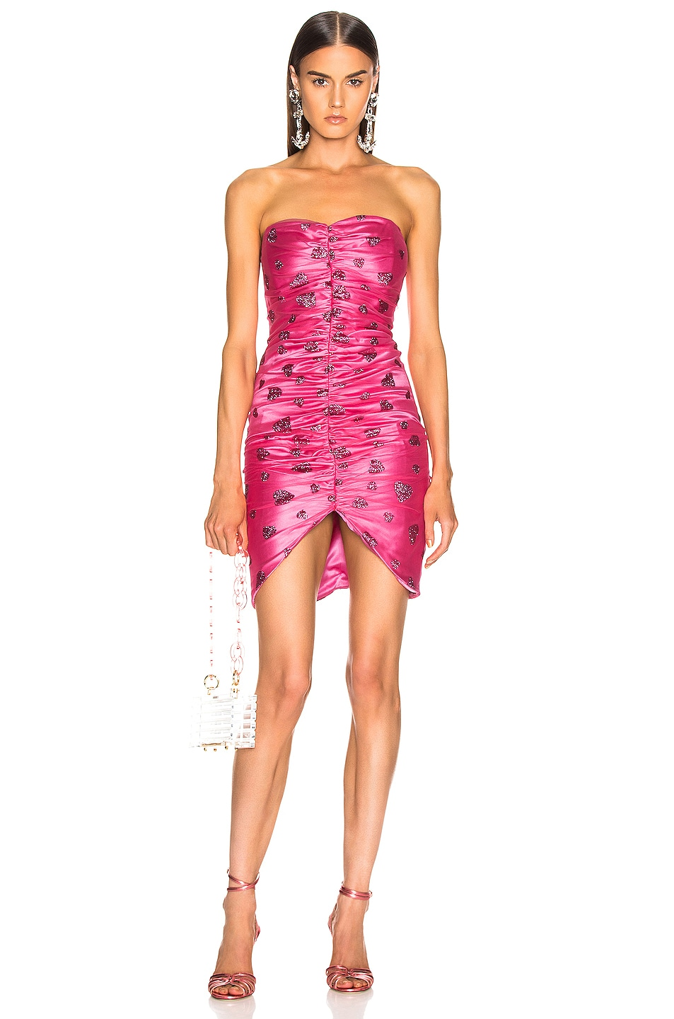 Image 1 of Rodarte Glitter Heart Strapless Ruched Dress in Flamingo