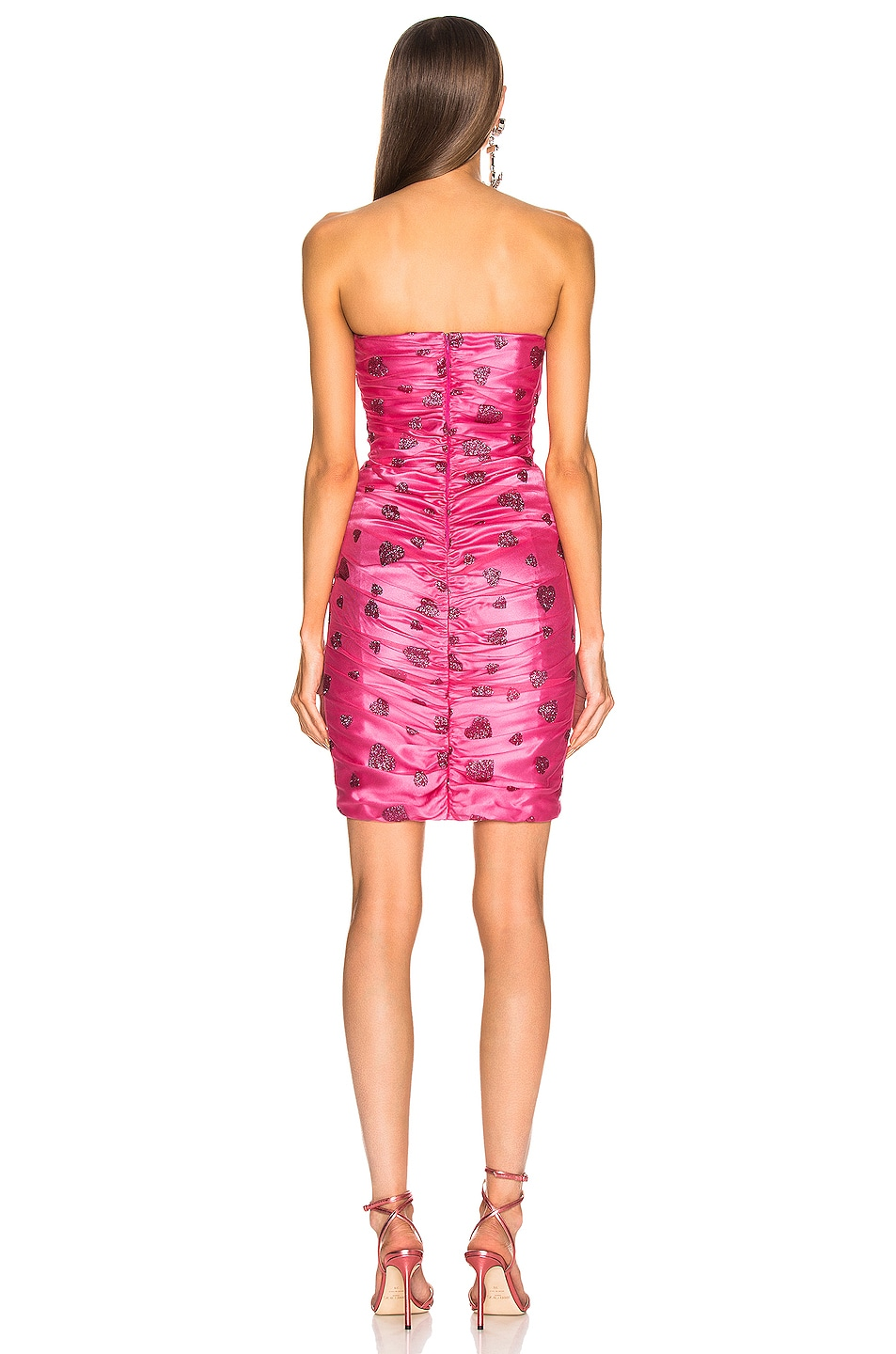 Image 3 of Rodarte Glitter Heart Strapless Ruched Dress in Flamingo