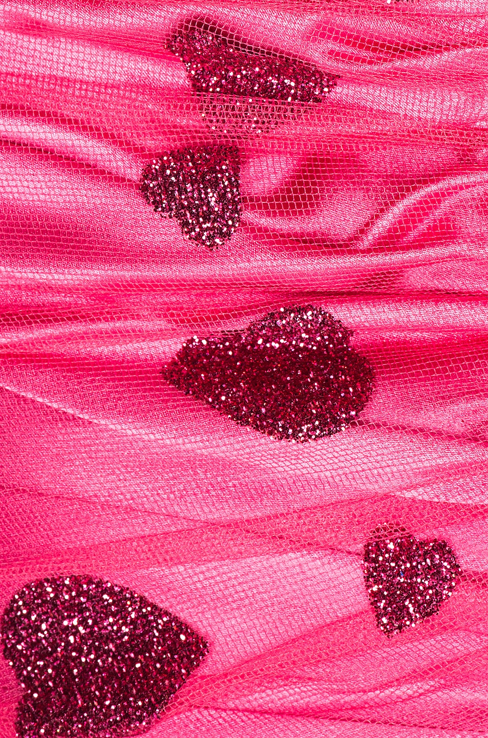 Image 4 of Rodarte Glitter Heart Strapless Ruched Dress in Flamingo