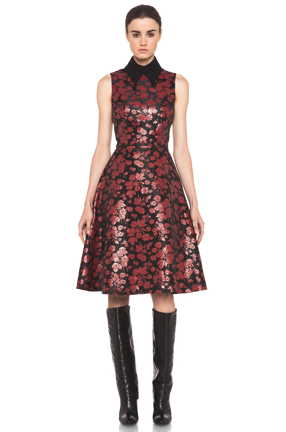 Image 1 of Rodarte Embroidered Tulle Dress in Red & Black Floral