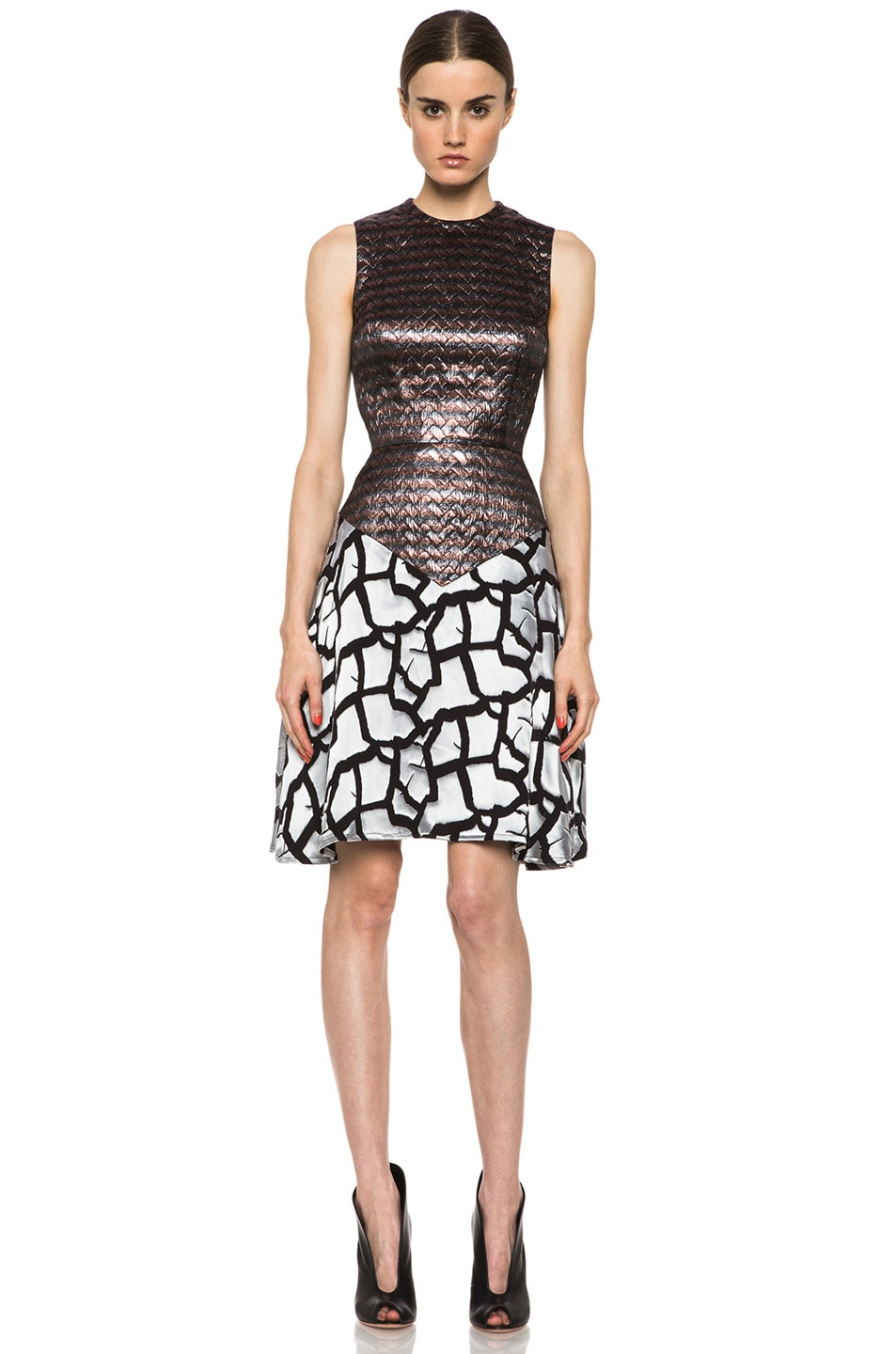Image 1 of Rodarte Rose Brocade Dress in Black & Metallic
