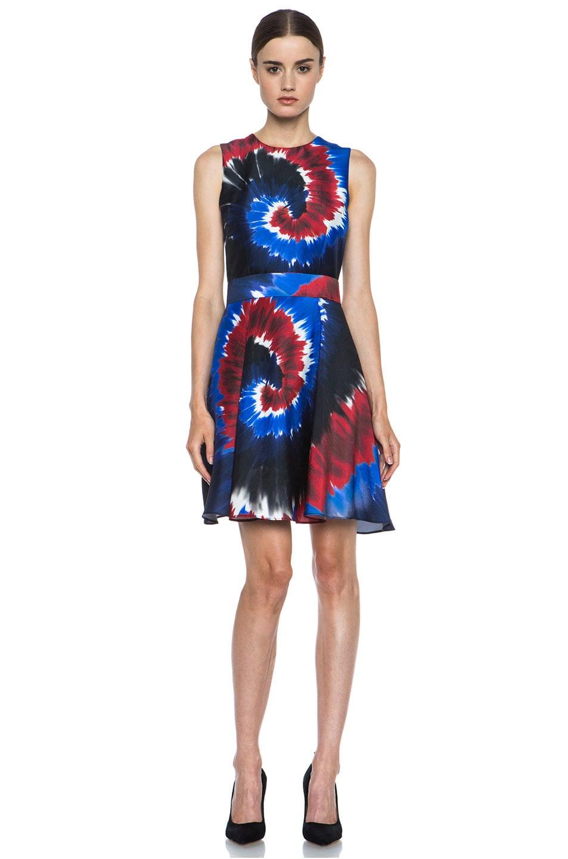 bb584f1821ef Image 1 of Rodarte Printed Tie Dye Silk Belted Dress in Red   Blue   Black