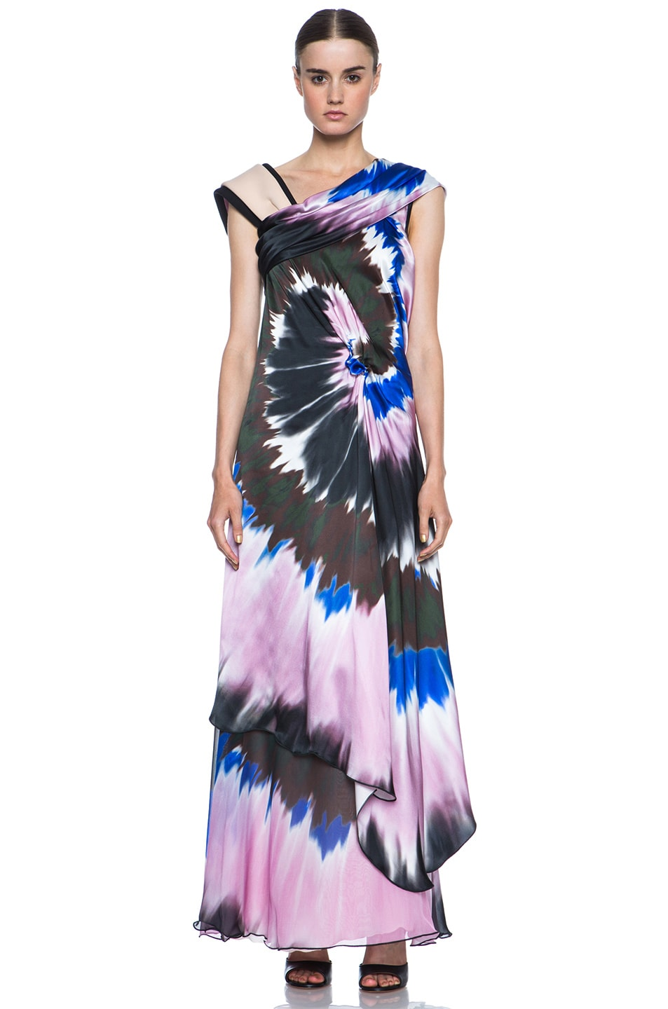 Image 1 of Rodarte Printed Tie Dye Silk Gown in Blue & Pink & Black