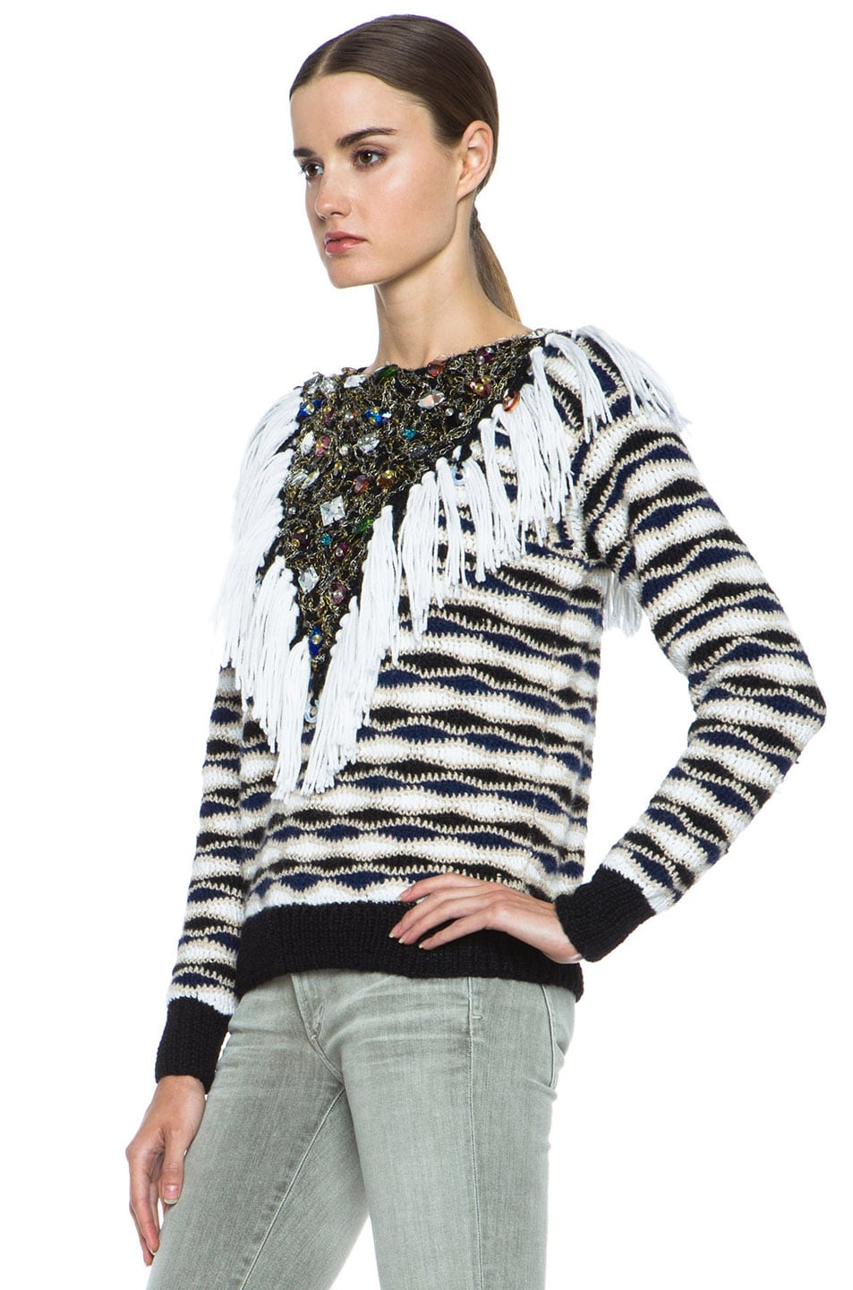 Image 2 of Rodarte Hand Crochet & Knit Sweater with Jeweled Collar in Black & White & Navy
